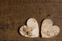 Two hearts and copy space Stock Images