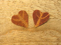 Two hearts cut from maple leaf Royalty Free Stock Image