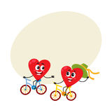 Two hearts cycling together, riding bicycles, couple in love concept. Cartoon vector illustration with space for text. Funny couple of hearts having fun riding Stock Image
