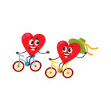 Two hearts cycling together, riding bicycles, couple in love concept. Cartoon vector illustration on white background. Funny couple of hearts having fun riding Royalty Free Stock Photo