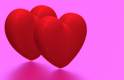 Two hearts, 3D render Royalty Free Stock Photo