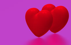 Two hearts, 3D render Royalty Free Stock Photos