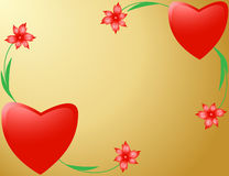 Two hearts decorated with flowers Stock Image