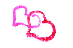 Two hearts  drawn with lipstick Stock Image