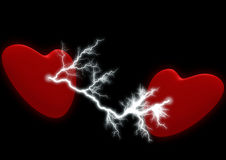 Two hearts with the electric discharge Royalty Free Stock Photos