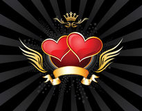 Two Hearts Emblem Royalty Free Stock Images