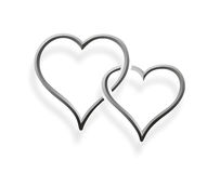 Two hearts entwined. A simplified illustration of two hearts entwined Royalty Free Stock Image