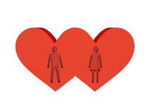 Two hearts. Figure of man and woman cutout inside. Concept 3D illustration Stock Photography