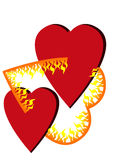 Two hearts in Fire. On white as symbol of passion, love Royalty Free Stock Photography