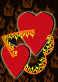 Two hearts in Fire Royalty Free Stock Photos