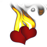Two hearts in fire. On white as symbol of passion, love, jealousy Royalty Free Stock Image