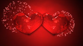 Two Hearts Fireworks. Two hearts beat against red background of fireworks stock video footage