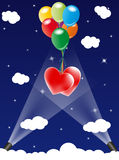 Two hearts floating up in sky. Illustration of two red hearts floating up into the blue starry sky carried by strings attached to colorful balloons royalty free illustration