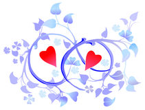 Two hearts in floral decoration Royalty Free Stock Photography
