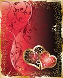 Two hearts with floral ornament Royalty Free Stock Images