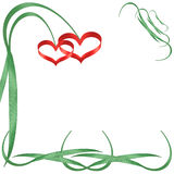 Two hearts - flowers. Two red hearts as flowers grow on green stalks Stock Photos