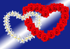 Two hearts from flowers Royalty Free Stock Photo