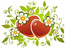 Two hearts and flowers Stock Photo