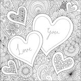 Two Hearts on flowers for coloring books for adult or valentines card Royalty Free Stock Photos