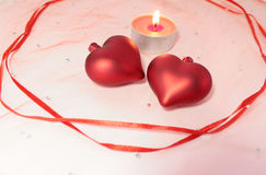 Two hearts fnd candle decoration for Valentine's Day Stock Photo