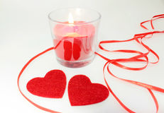 Two hearts fnd candle decoration for Valentine's Day Royalty Free Stock Image