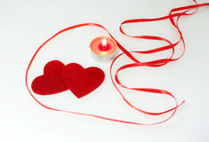 Two hearts fnd candle decoration for Valentine's Day Stock Images