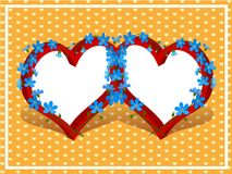 Two hearts frame Royalty Free Stock Image