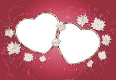 Two hearts frame collage. Two hearts on red, frame, collage vector illustration