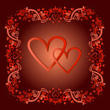 Two hearts in a frame in a vector Royalty Free Stock Images