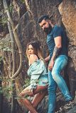 Two hearts full of love. woman and bearded man on natural landscape. Couple in love on summer vacation. Sensual. Two hearts full of love. women and bearded men royalty free stock images