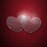 Two hearts from glass Stock Photo