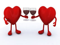 Two hearts with glass of red wine Royalty Free Stock Photo