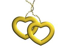Two hearts of gold Royalty Free Stock Photography