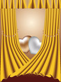 Two hearts on a gold background with pearls Royalty Free Stock Images