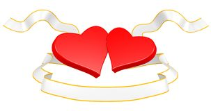 Two hearts with a gold ribbon Royalty Free Stock Photos