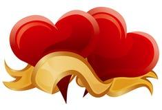 Two hearts & gold ribbon Stock Photos
