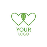 Two hearts and green leaf logo. Charity concept. Two hearts and green leaf logo. Charity, ecology, environment concept Royalty Free Stock Photography