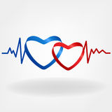 Two hearts. Heartbeat design Royalty Free Stock Images