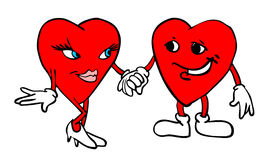 Two hearts holding hands Royalty Free Stock Image