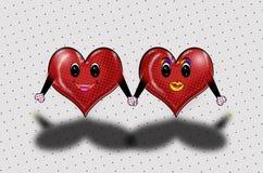 Two Hearts Holding Hands Pop Art! vector illustration