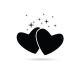 Two hearts icon in black Stock Images