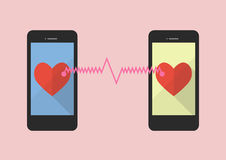 Two hearts icon was connected by two smartphones Stock Images
