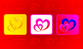 Two hearts illustration in three variations Stock Photography