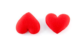 Two hearts isolated on white background Stock Photos