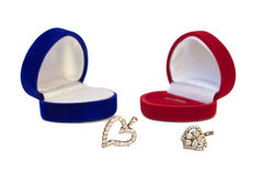 Two hearts with jewelry boxes Stock Photography