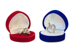Two hearts in jewelry boxes Royalty Free Stock Image