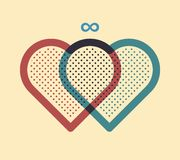 Two hearts joined together. Vector illustration Royalty Free Stock Images