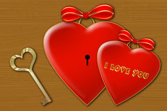 Two hearts. With a key texture vector illustration