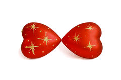Two hearts kissing, with stars, isolated on white Royalty Free Stock Photo