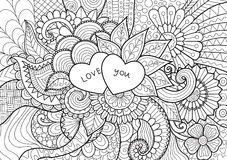 Two hearts laying on flowers for coloring book , cards and background Royalty Free Stock Image